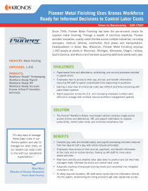 Pioneer Metal Finishing Uses Kronos Workforce Ready For Informed Decisions To Control Labor Costs