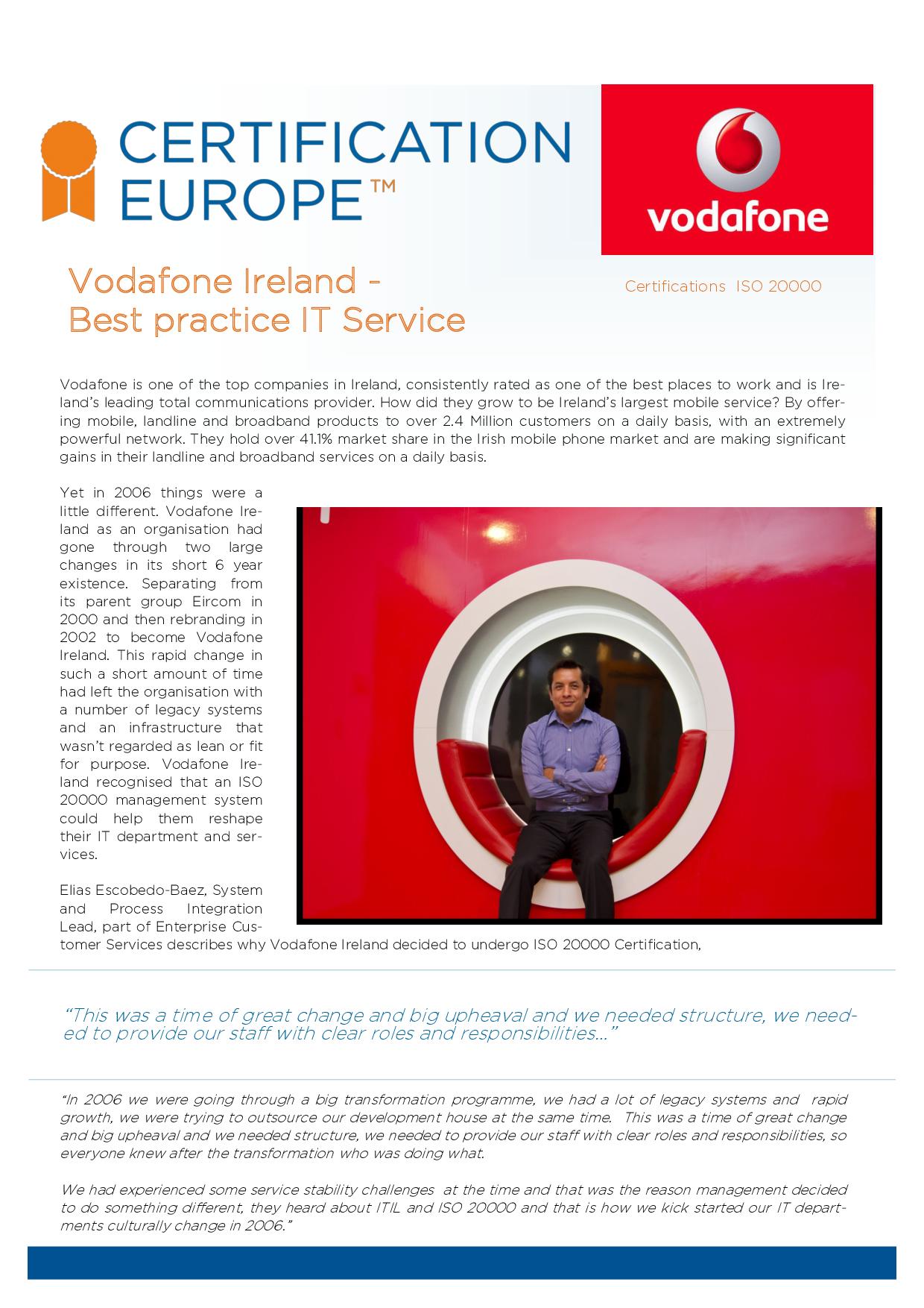 Vodafone Ireland Best Practice It Service