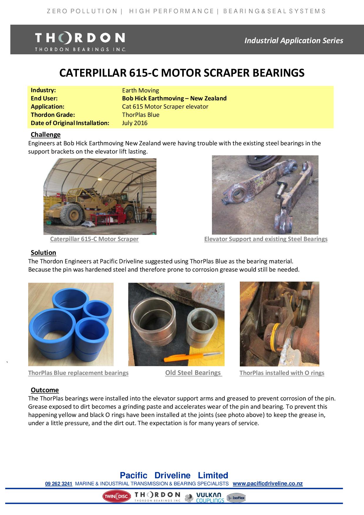 Caterpillar 615-C Motor Scraper Bearings