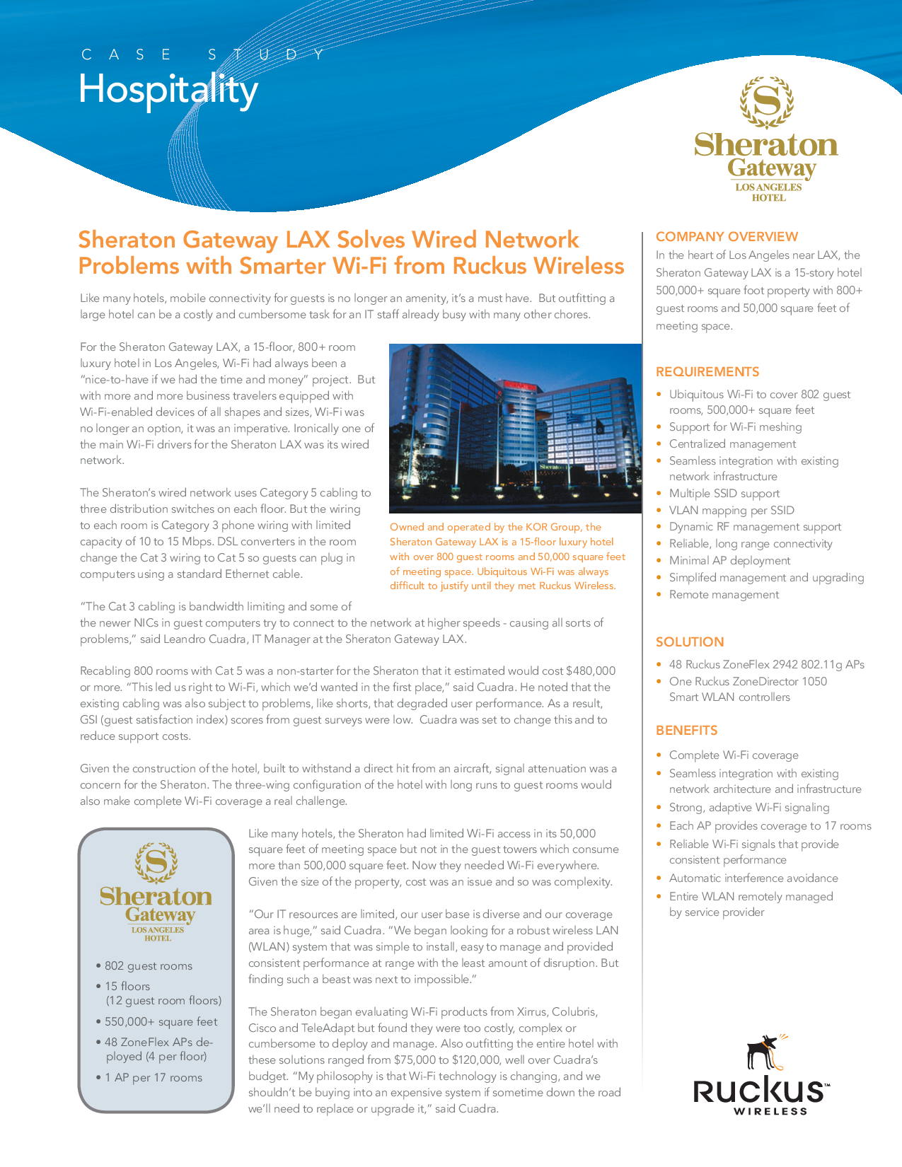 Sheraton Gateway LAX Solves Wired Network Problems with Smar