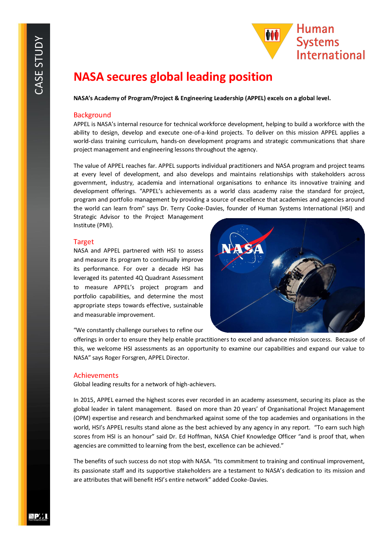 NASA Secures Global Leading Position