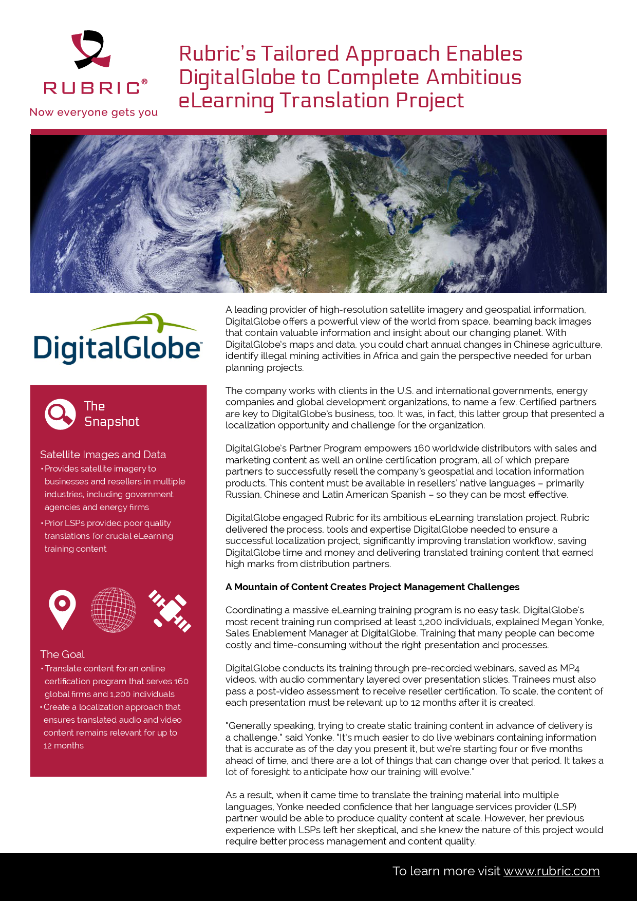 Rubrics Tailored Approach Enables Digitalglobe To Complete