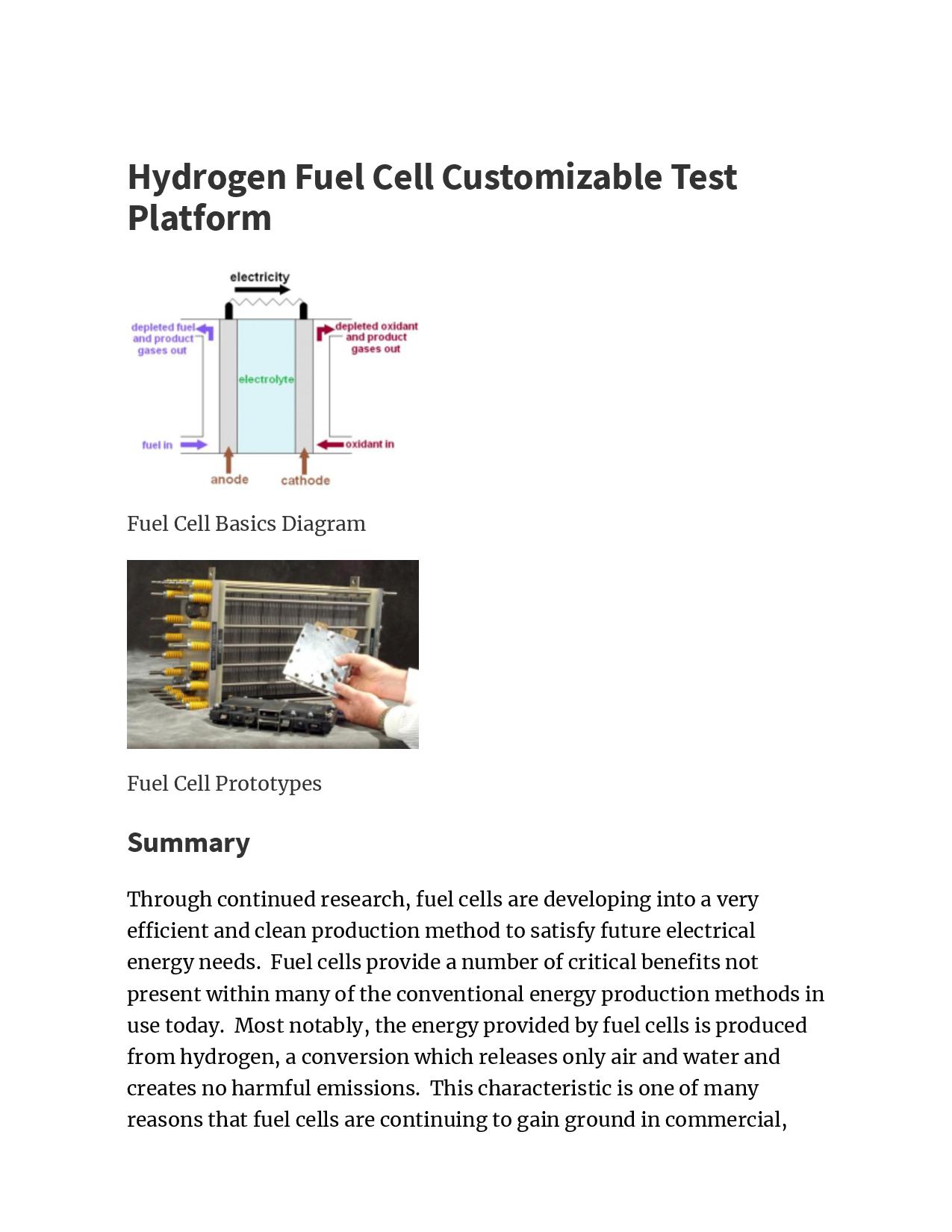 Hydrogen Fuel Cell Customizable Test Platform