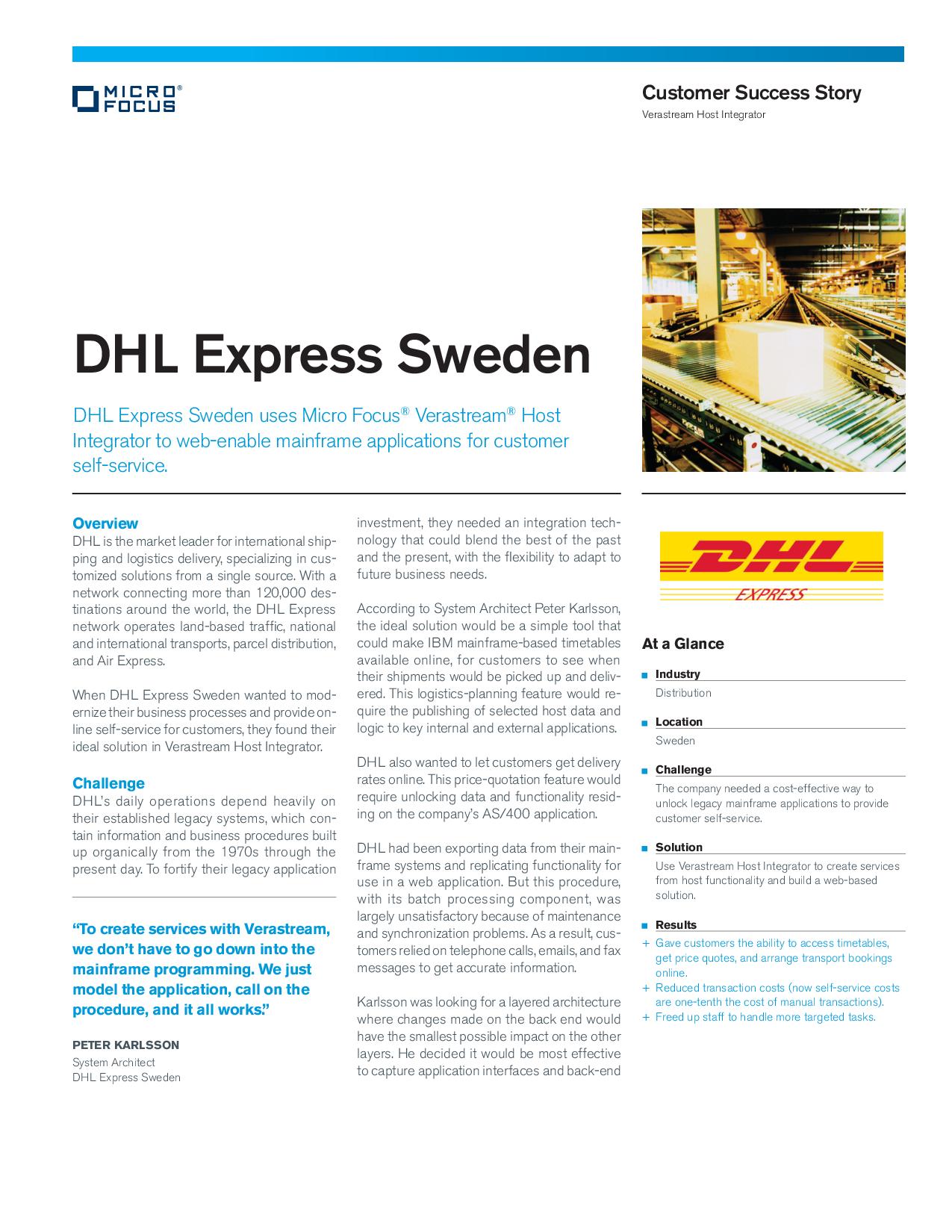 Dhl Express Sweden Uses Micro Focus Verastream Host Integr