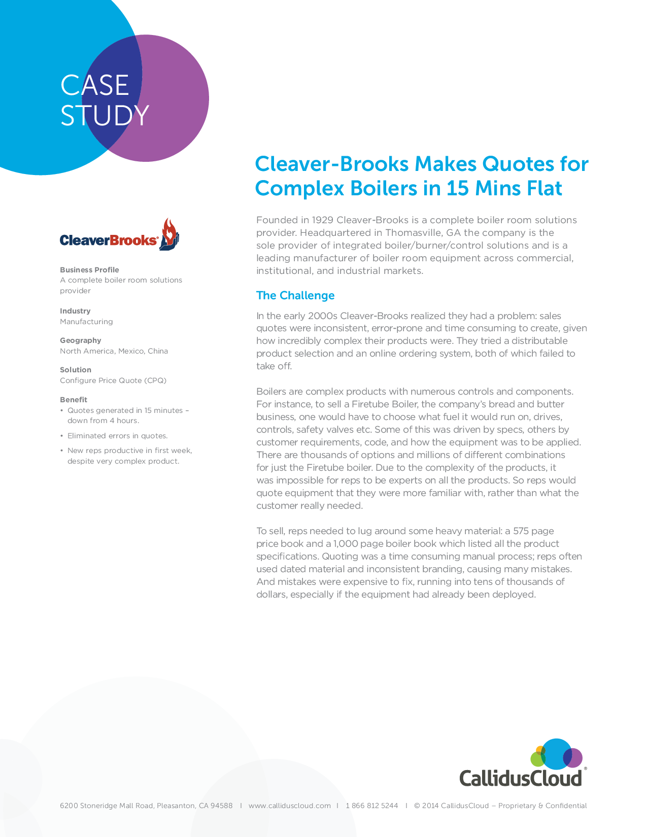 Cleaver-Brooks Makes Quotes for Complex Boilers in 15 Mins F