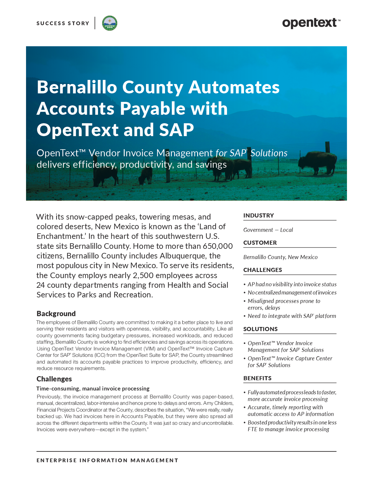 Bernalillo County Automates Accounts Payable With OpenText A - Open text invoice management