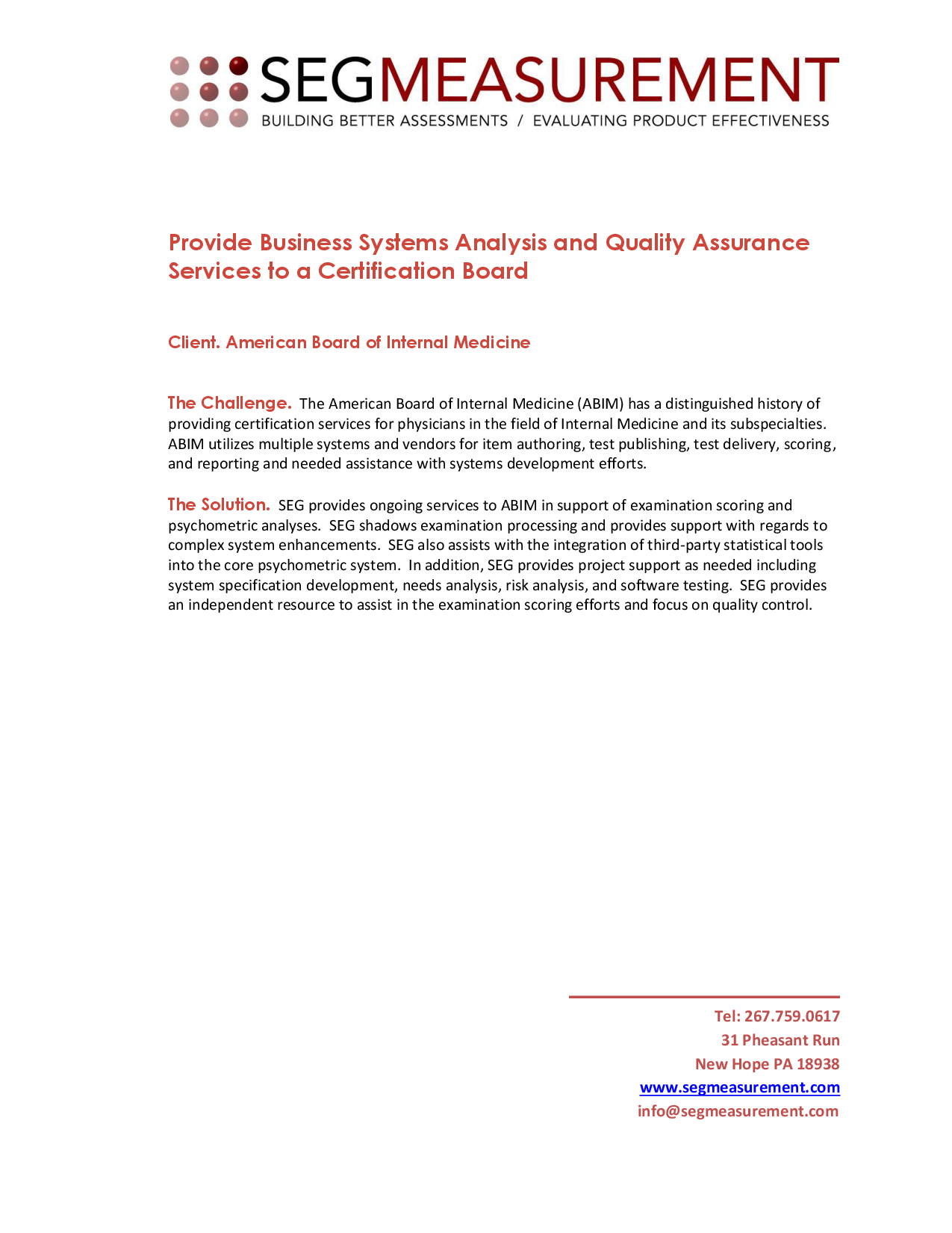 Provide Business Systems Analysis And Quality Assurance Ser