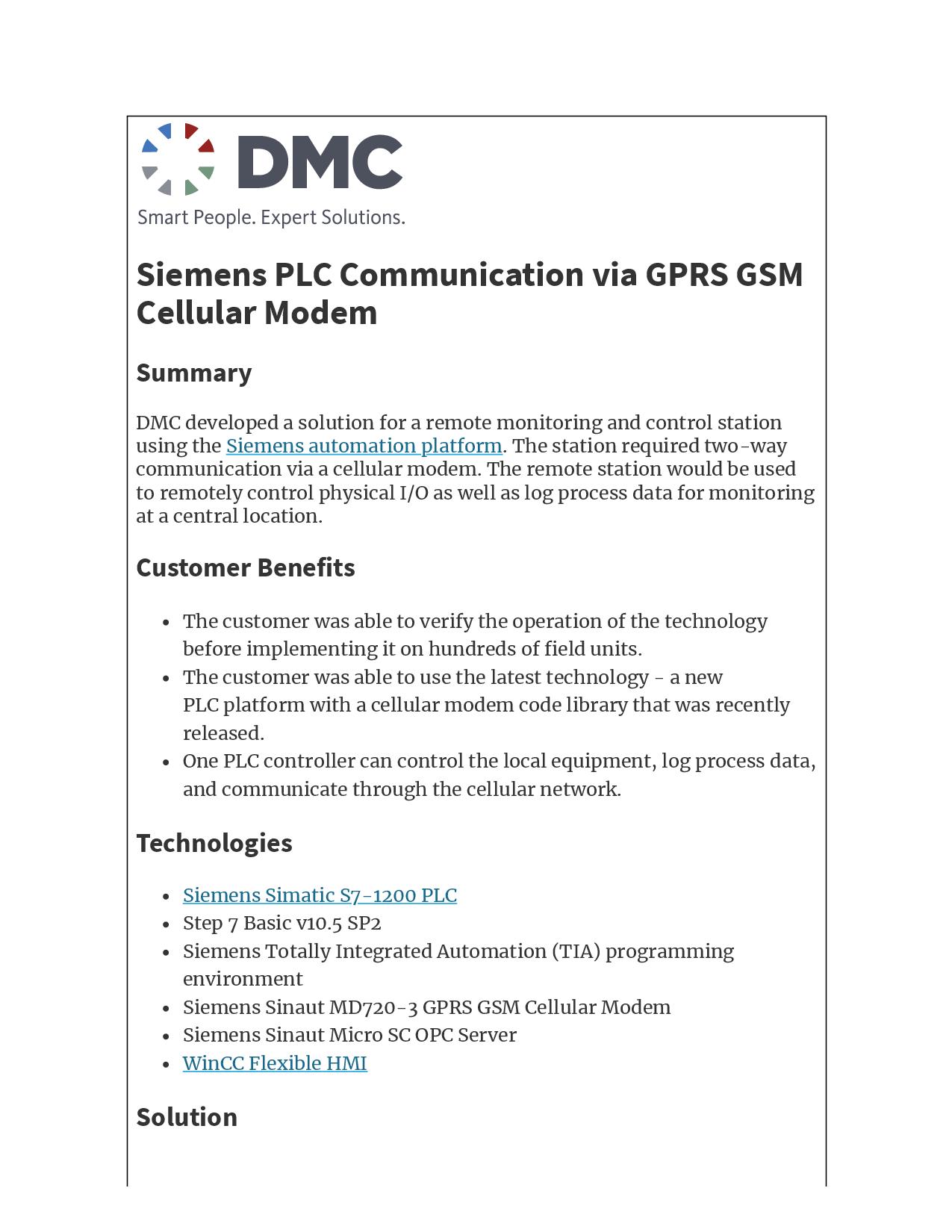 Siemens PLC Communication via GPRS GSM Cellular Modem