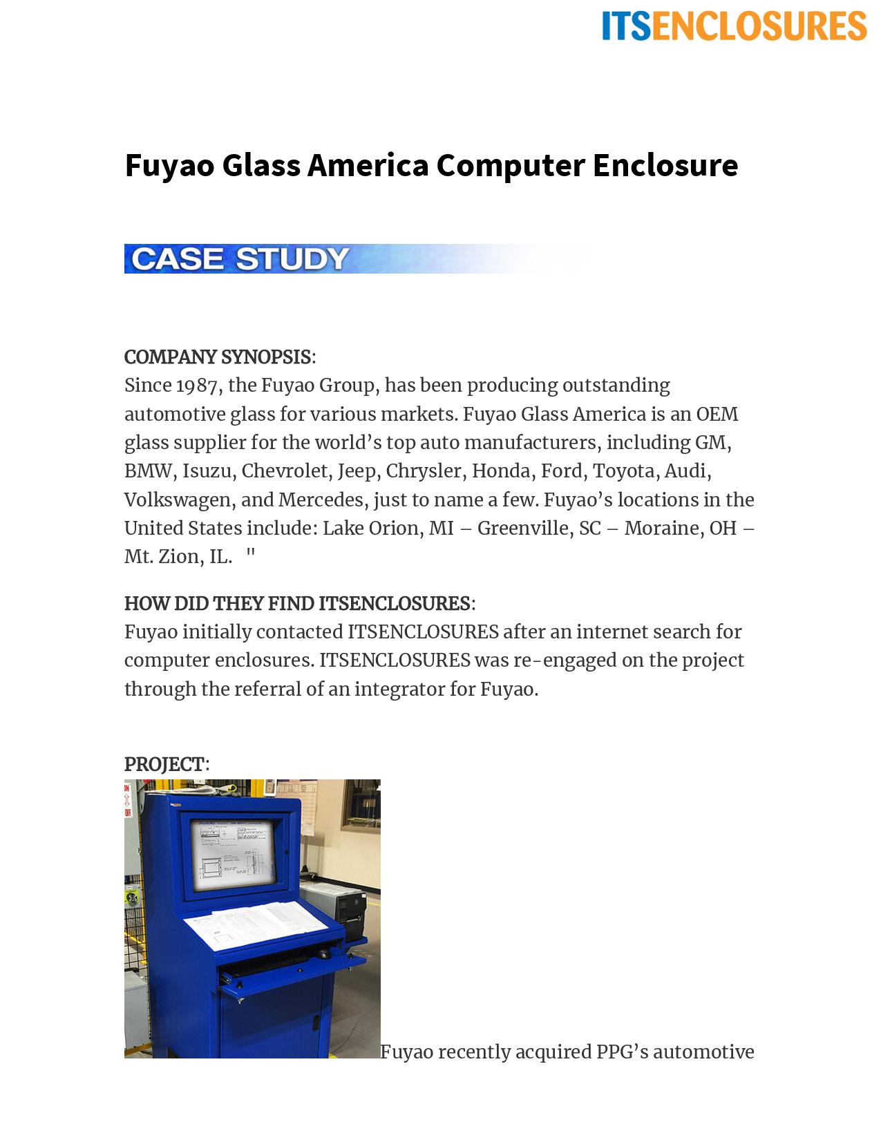 Fuyao Glass America Computer Enclosure