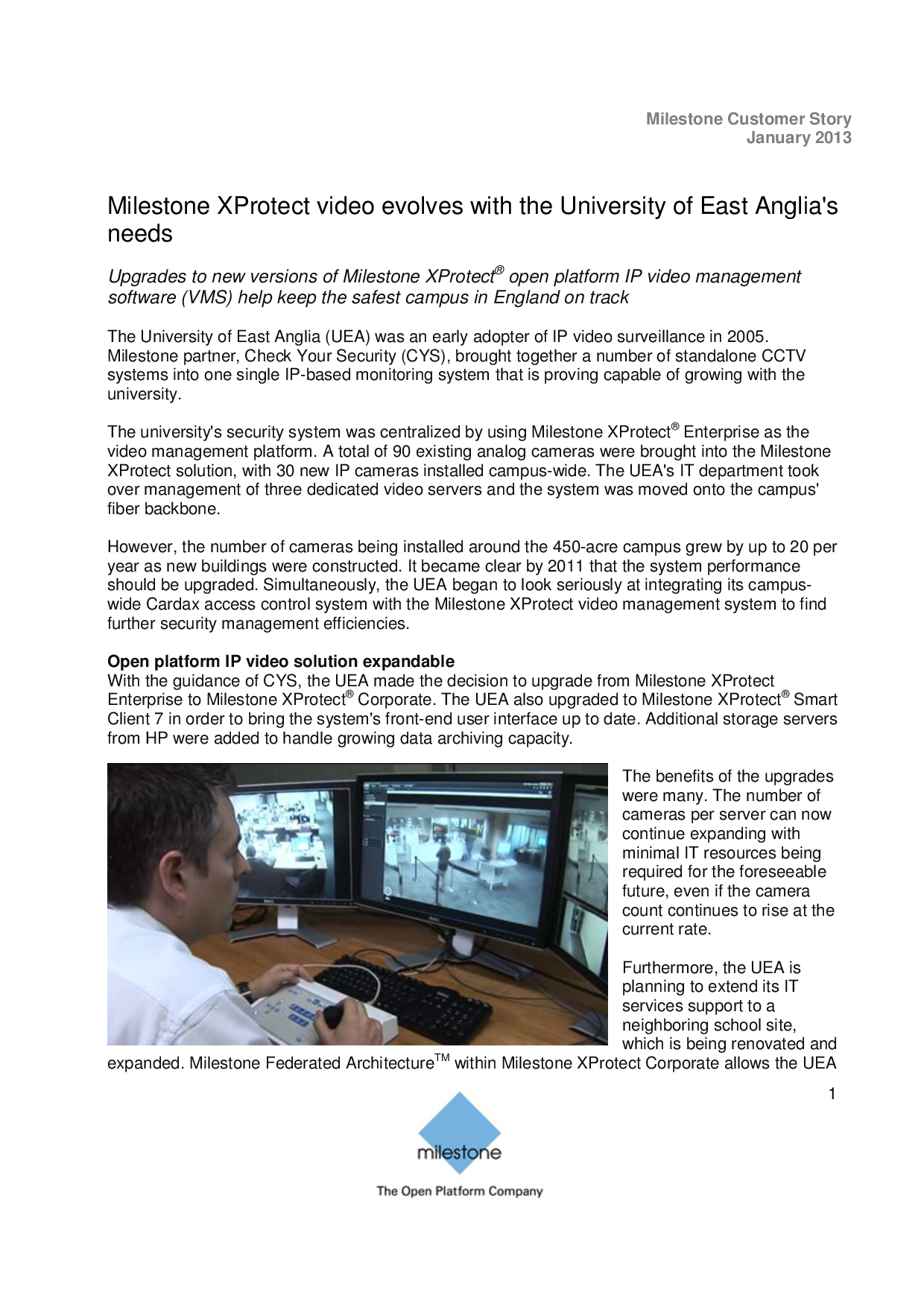 Milestone XProtect video evolves with the University of East