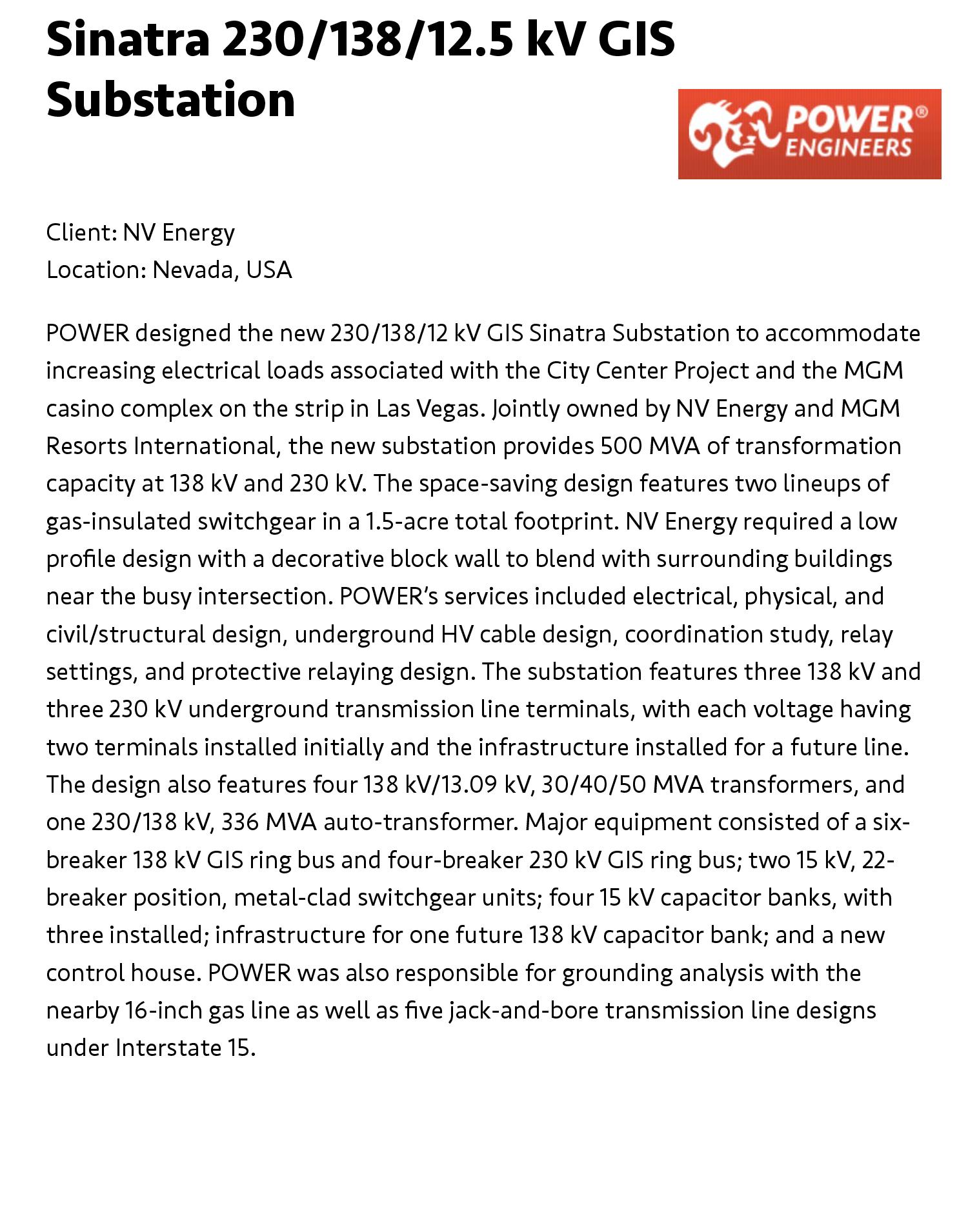 Sinatra 230/138/12 5 kV GIS Substation