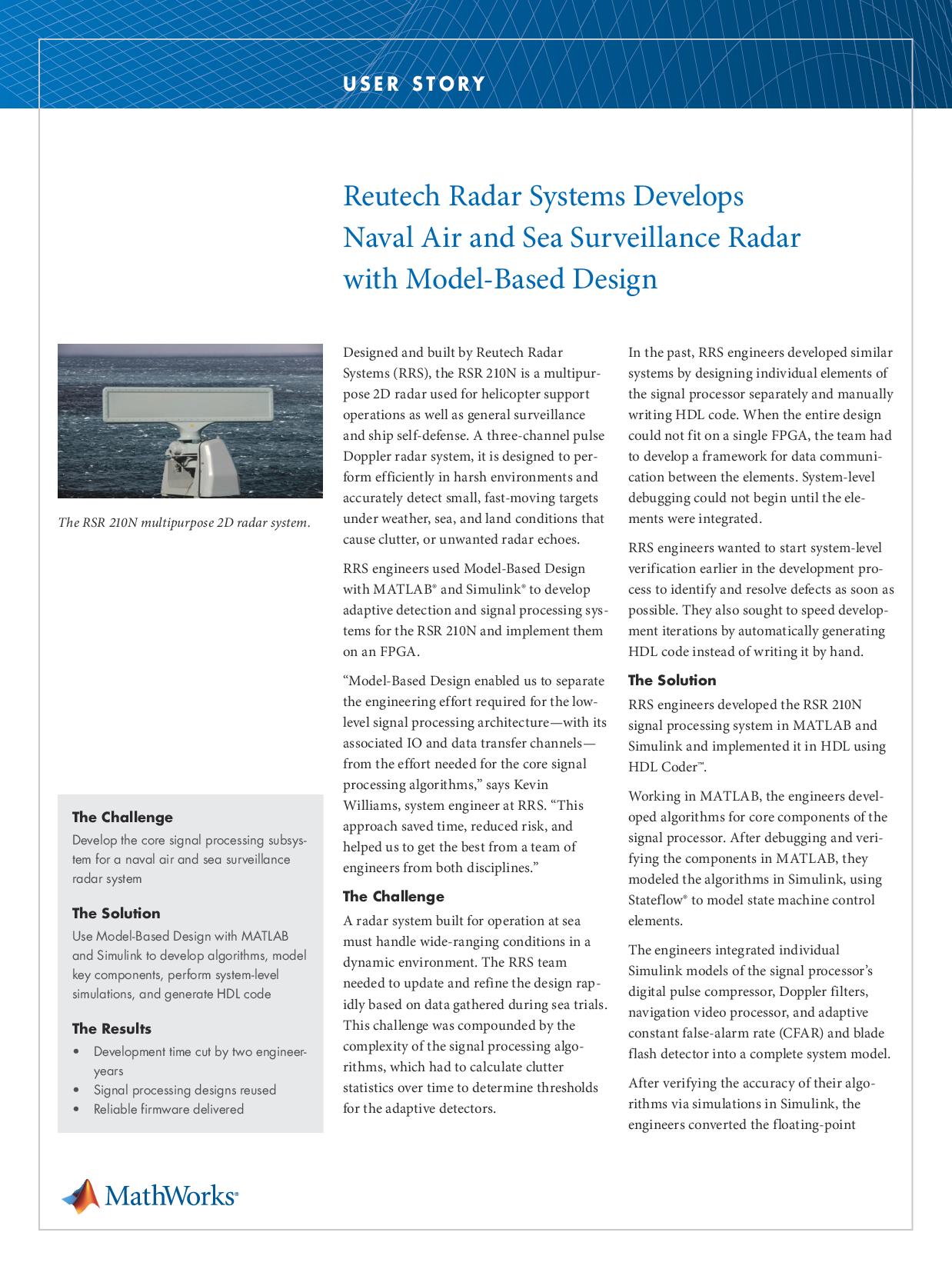Reutech Radar Systems Develops Naval Air and Sea Surveillanc