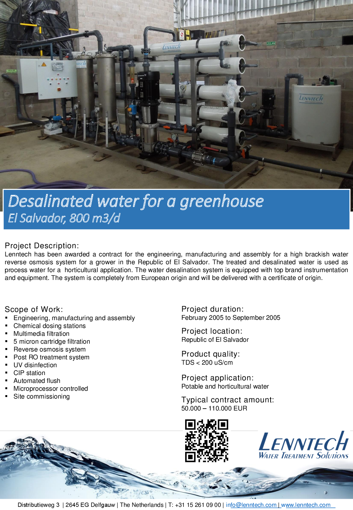Desalinated water for a greenhouse