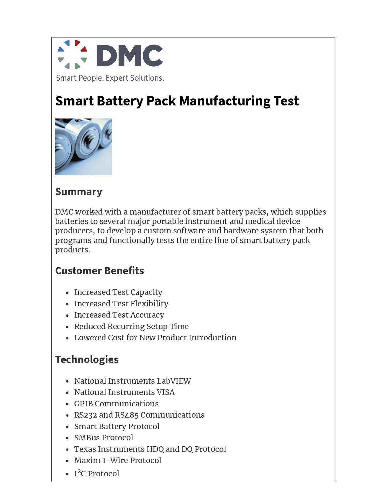 Smart Battery Pack Manufacturing Test