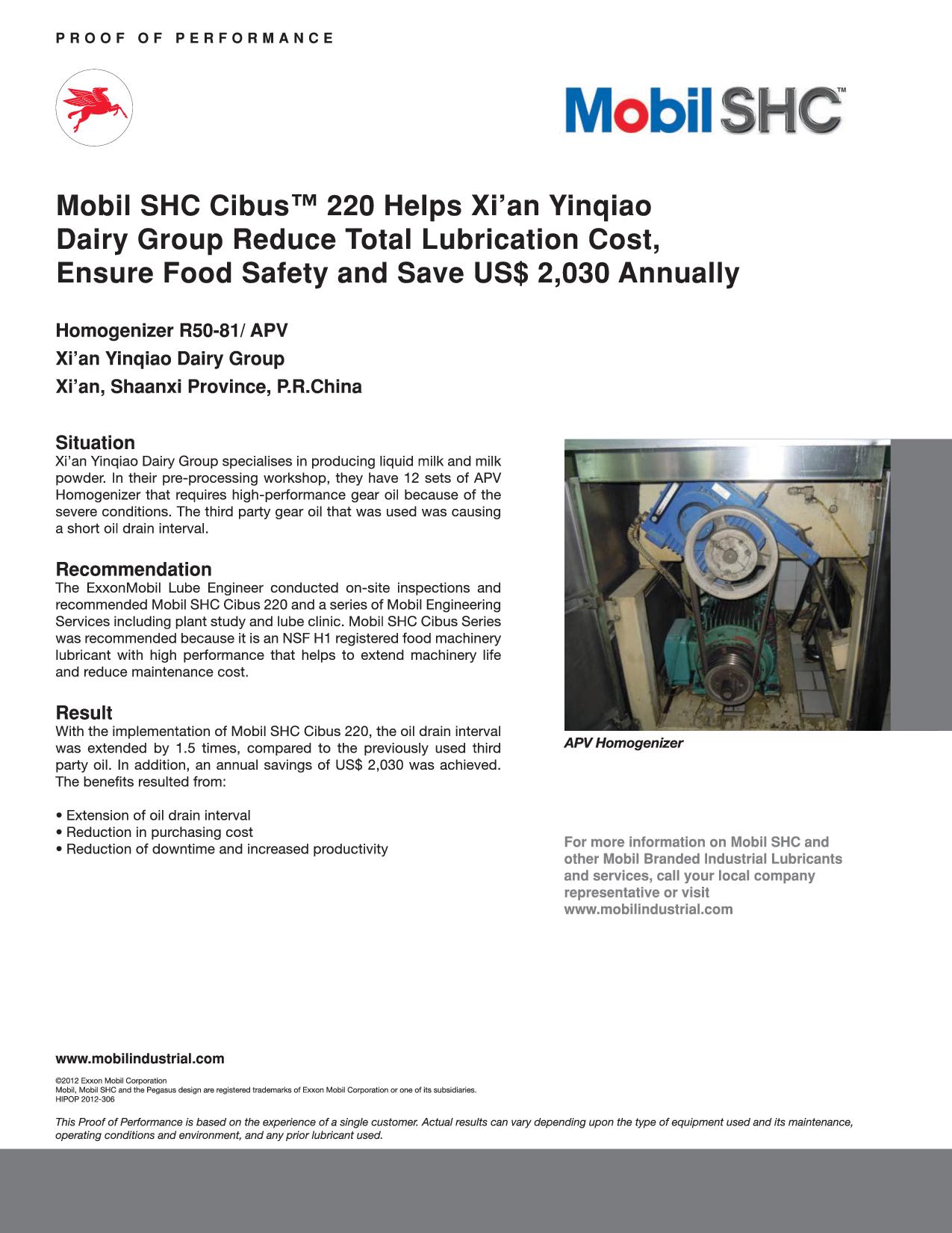 Mobil SHC™ Cibus 220 Helps Xi'an Yinqiao Dairy Group Reduce