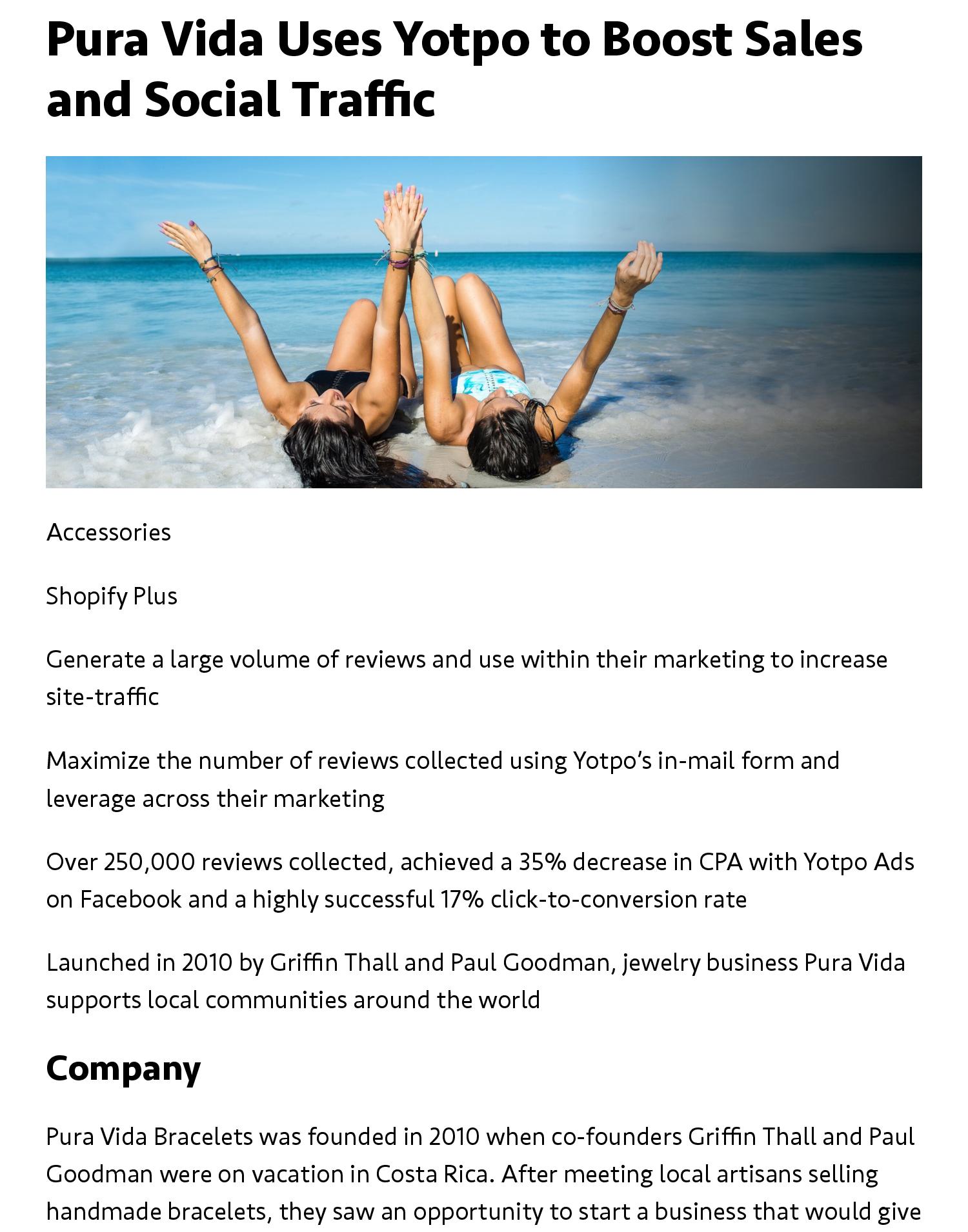 Pura Vida Uses Yotpo to Boost Sales and Social Traffic