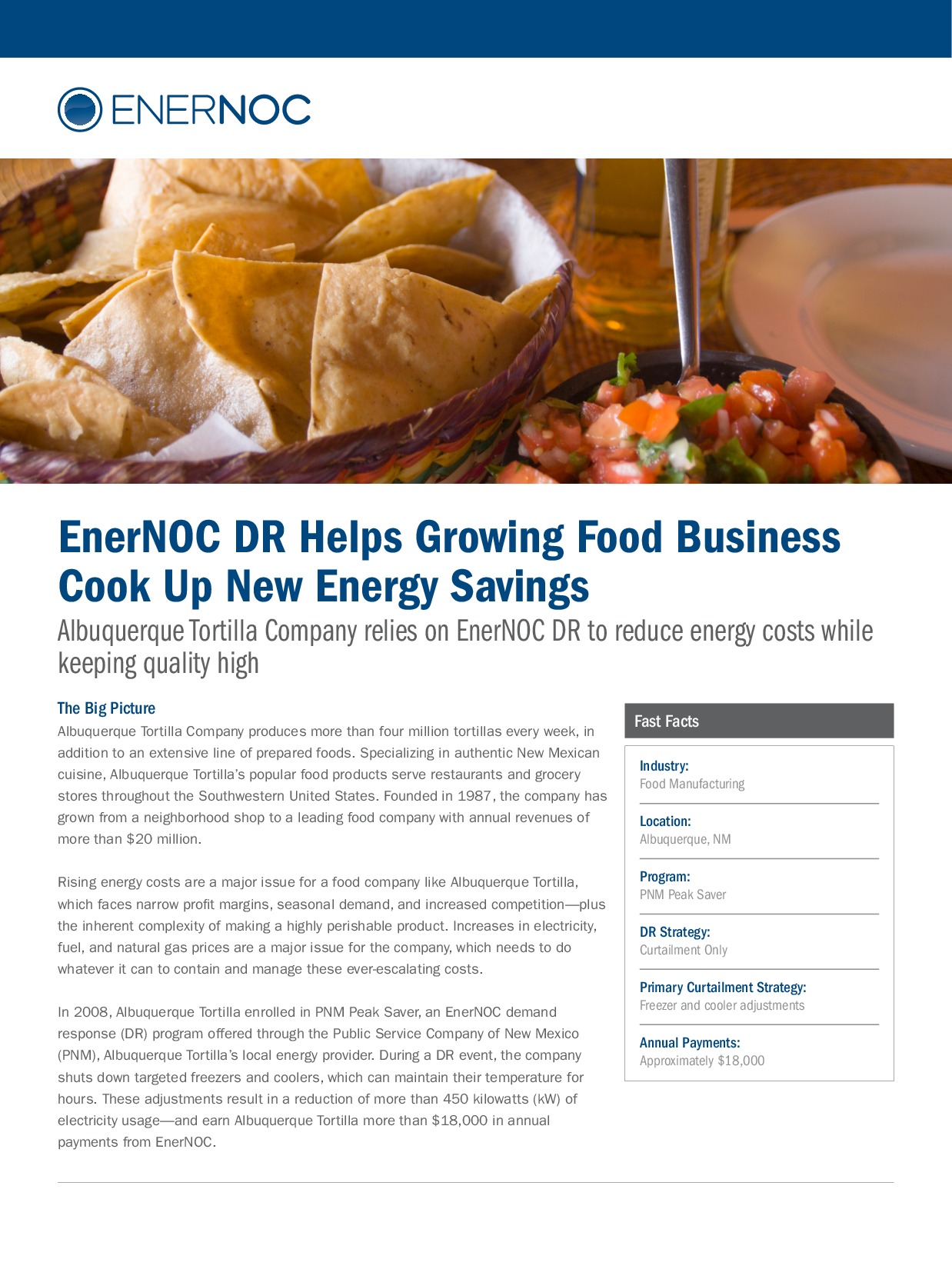 EnerNOC DR Helps Growing Food Business  Cook Up New Energy Savings