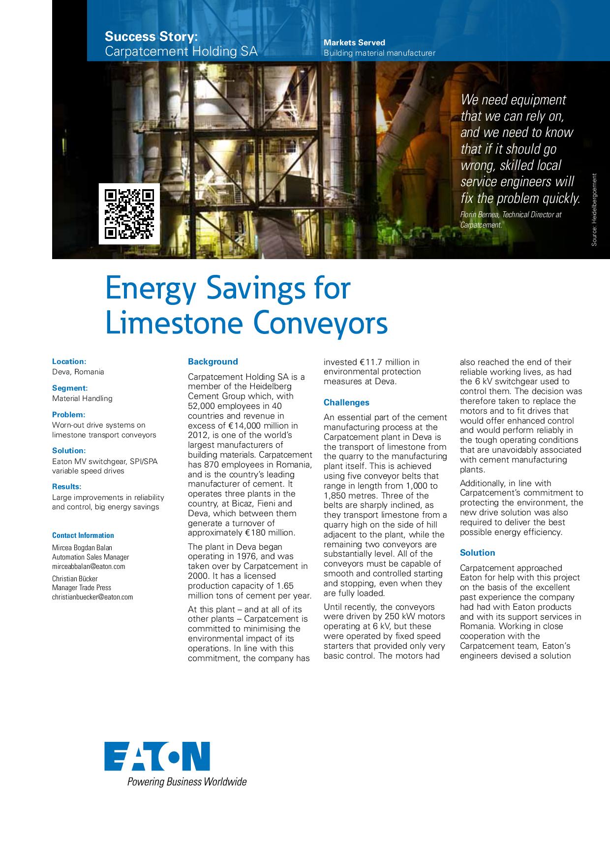 Energy Savings for Limestone Conveyors