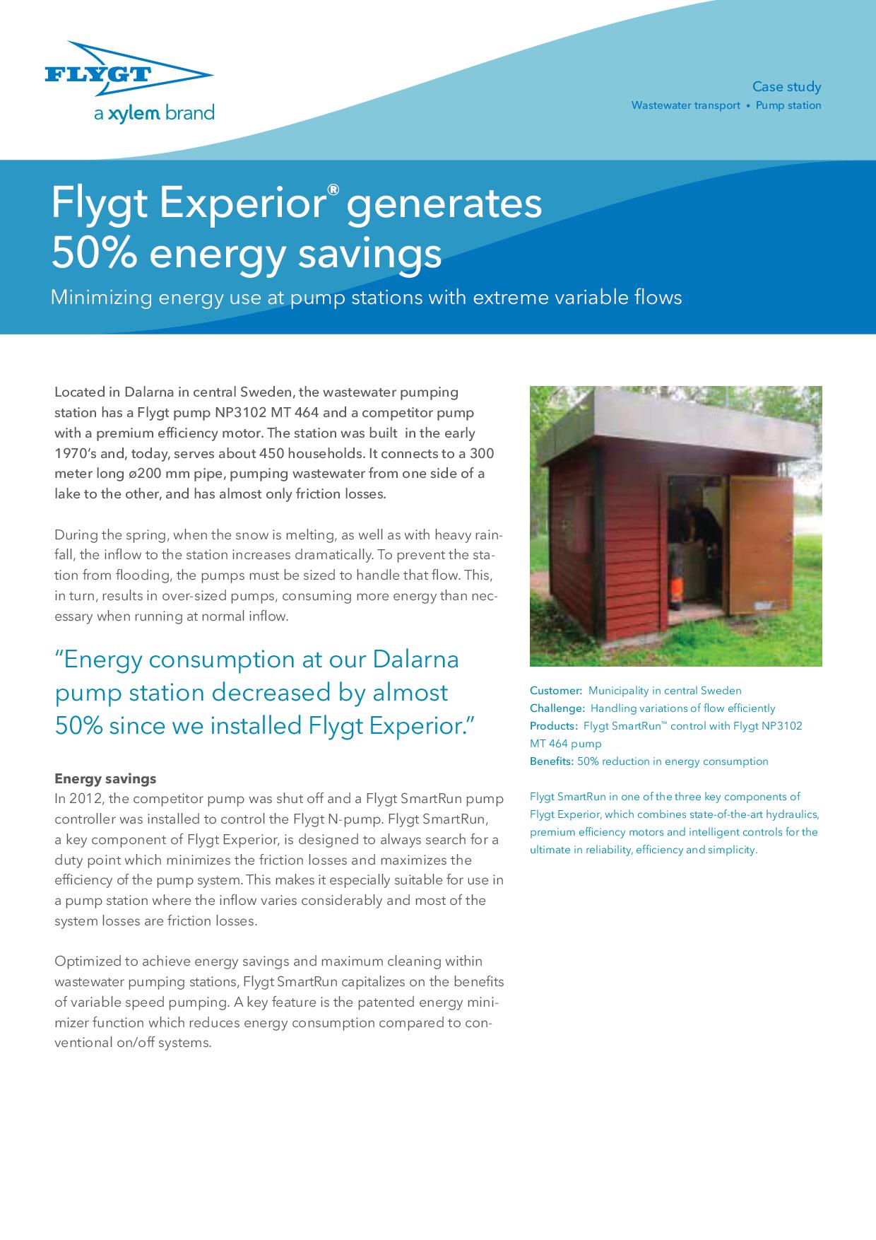 Flygt Experior generates 50% energy savings