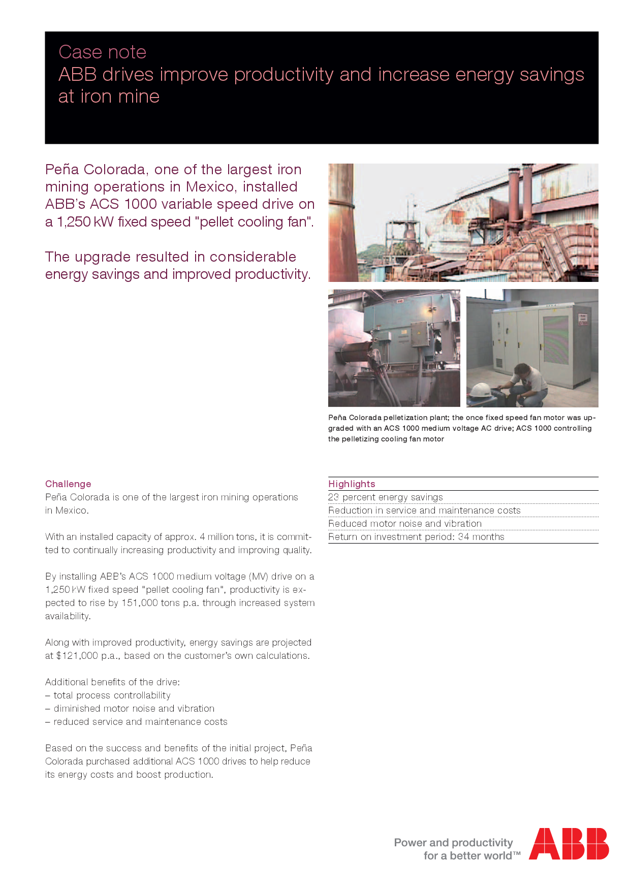 Case note ABB drives improve productivity and increase energy savings  at iron mine