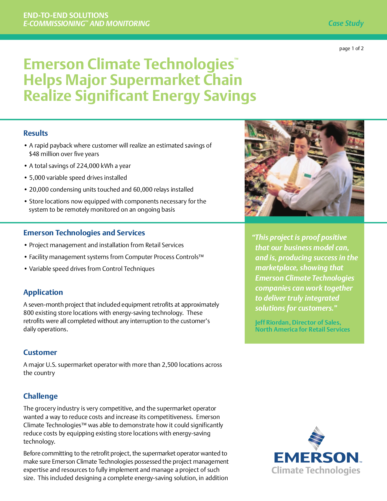 Emerson Climate Technologies Helps Major Supermarket Chain Realize Significant Energy Savings