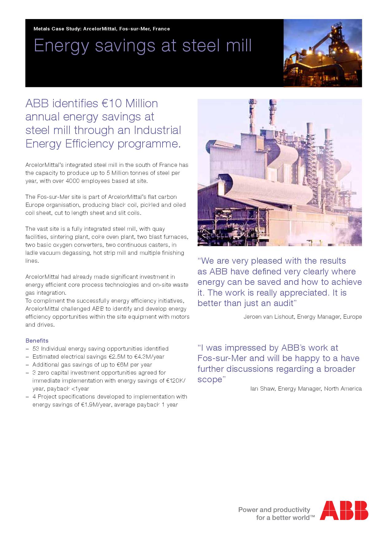 Energy savings at steel mill