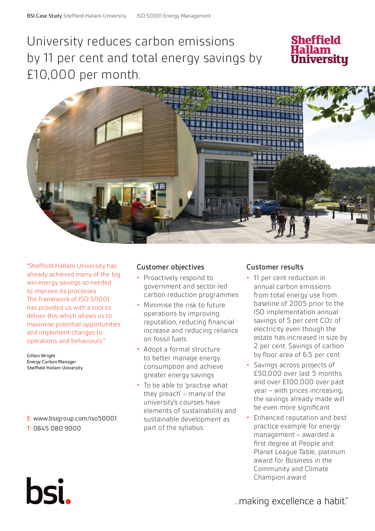 University reduces carbon emissions by 11 per cent and total energy savings by £10,000 per month.